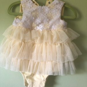 Little Me tulle yellow floral dress